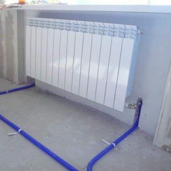 """Аллюминиевый радиатор с подключением """"низ-низ"""""""